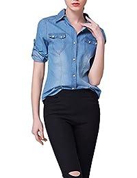 LaoZan clásico de la camisa Camisa vaquera Casual de manga larga para mujer XL Zarco