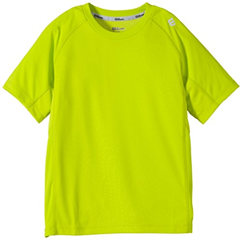 Wilson, Maglietta da tennis Bambino, Verde (Solar Lime/Pearl Grey), (Abbigliamento Pearl)