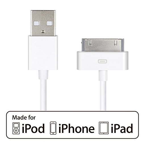 iPhone 4s cable,HQTech Cable de Datos de USB Cable de Carga Cargador Cable para iPhone 4/4s, iPhone 3G/3GS, iPad 1/2/3, iPod (Blanco)-6240