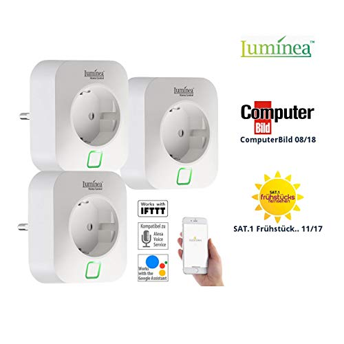 Luminea Home Control Smart Home Steckdosen: 3er-Set WLAN-Steckdosen, Amazon Alexa & Google Assistant komp, 16 A (Energiekostenmessgerät)