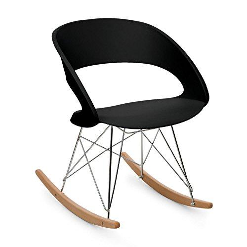 OneConcept Travolta • Chaise à Bascule rétro • Coque Plastique Dur & Bois • Chaise à Bascule de Designer au Look Seventies • Assise Large • Accoudoirs • Siège Confortable • Noir