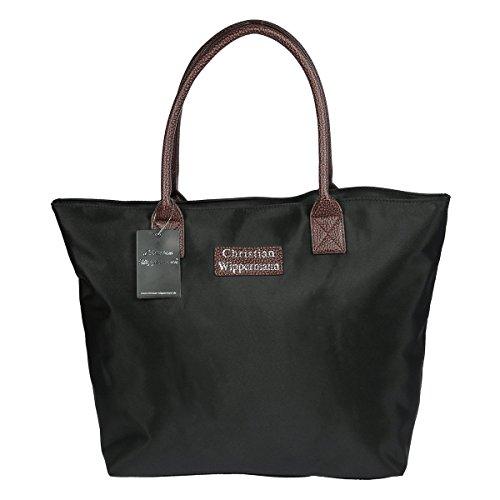 Christian Wippermann®, Borsa tote donna Nero nero/argento 48 x 35 x 20 cm nero/argento