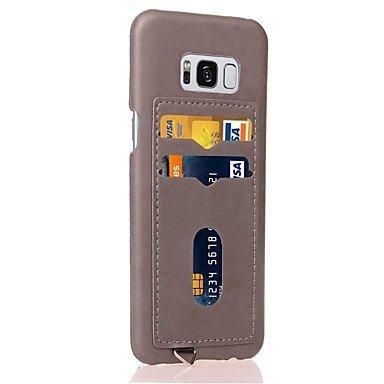Handy schützen, Für samsung galaxy s8 s8 plus Fallabdeckung Kartenhalter rückseitige Abdeckungsfall Normallack harter PU-lederner Fall für Samsung ( Farbe : Gelb , Kompatible Modellen : Galaxy S8 )