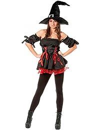 r-dessous sexy Hexen Kostüm Damen Kleid 3-tlg mit Hut Zauberer Vampir Halloween Fasching Karneval Party