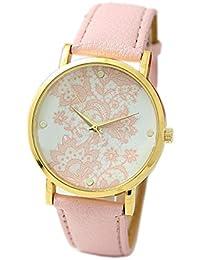 Geneva Women's Lace Printed Wrist Watch Pink