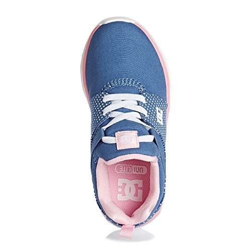 DC Shoes Heathrow, Baskets Basses Fille Bleu - Blue/White Print