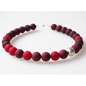 Polariskette weinrot rot Kette Collier mit großen Perlen