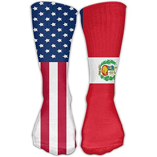 Benutzerdefinierte lustige Strümpfe Peru amerikanische Flagge Rohr Mädchen Jungen Knie lange Socken Reisen atmungsaktiv