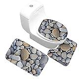 AMDXD Flanell Teppich Toilettenmatte Set Kieselsteine Design Teppiche für Wohnzimmer Küche Bunt 50x80CM