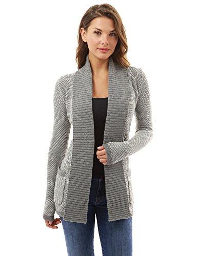 PattyBoutik Damen offene Strickjacke mit Langen Ärmeln und Taschen. (grau und weiß S 36/38)