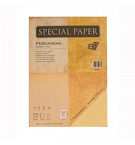 Carta bapi pergamena avorio a4 110 gr. 25 ff
