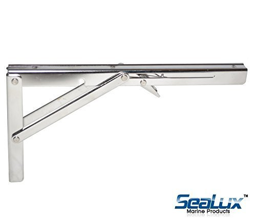 SeaLux Stainless Steel Folding Shelf Bracket 12 (330 lbs Short Release) by SeaLux (Hardware Folding Shelf)