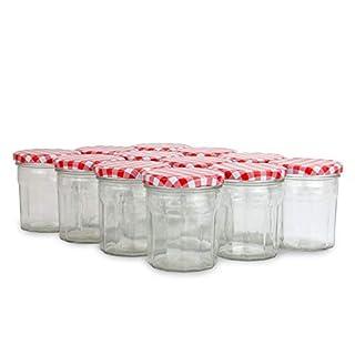 Set of 12 Jam Jars | 324ml Glass Preserve Pots | Screw Top Red Gingham Lids | Airtight Pickle Jars | Marmalade & Chutney Jars | M&W