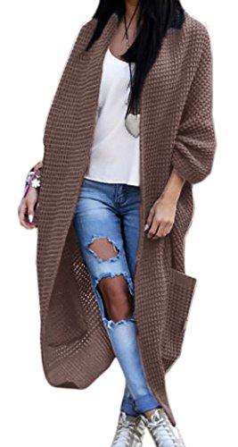 Damen Strickjacke Pullover Pulli Jacke Oversize Boho S M L XL (629) (Einheitsgrösse, Braun) (Strickjacken-weste Damen Pullover)