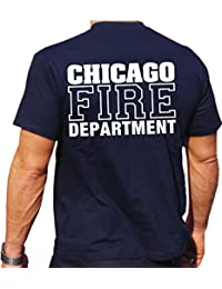 """Feuer1 CHICAGO-Camiseta de manga corta, diseño con texto """"FIRE DEPT., color azul - Bleu marine - bleu marine, tamaño XXL"""