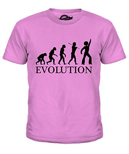 Tanzen Evolution des Menschen Unisex Jungen Mädchen T Shirt, Größe 4 Jahre, Farbe Rosa (Disco Tanzen Kostüme Für Kinder)