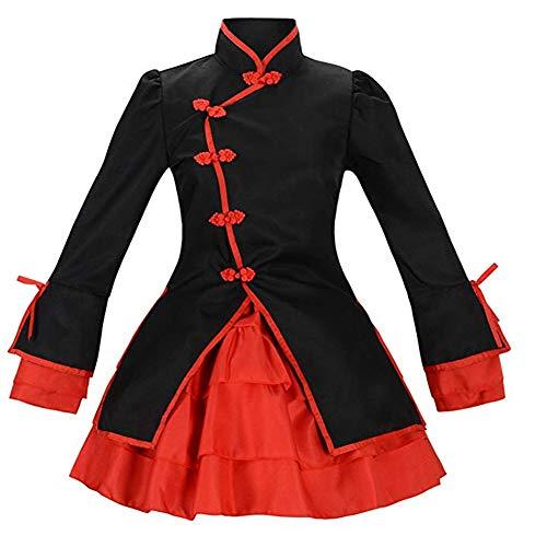 Nette Frauen Anime Cosplay chinesischen Stil Tanz Kostüme Cosplay Lolita Spiel Anime Cosplay,Schwarz,S (80's Metal Kostüm)
