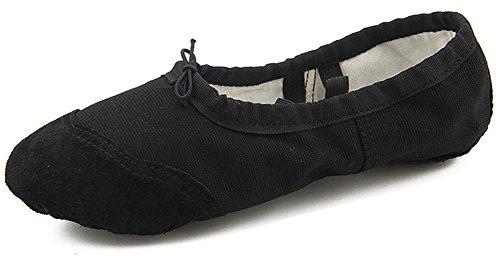 Dreamone Balletschläppchen Ballettschuhe Tanzen Schläppchen Gymnastik-Schuhe Damen Mädchen, Schwarz, 36 EU