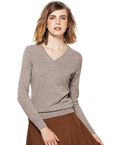 Zhili Frauen V-Ausschnitt Kaschmir Pullover Pullover XL Braun (Cashmere Pullover Brown)