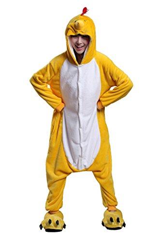 URVIP Unisex Festliche Anzug Flanell Pyjamas Trickfilm Jumpsuit Tier Cartoon Fasching Halloween Kostüm Sleepsuit Party Cosplay Pyjama Schlafanzug Huhn ()