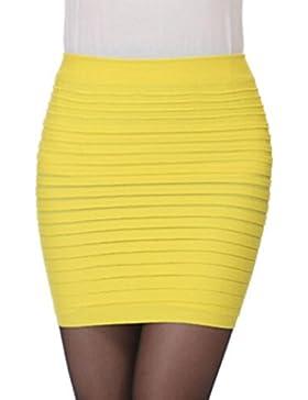 Rcool Mujeres Elástico de Cintura Alta Falda Corta Plisada Cadera del Paquete