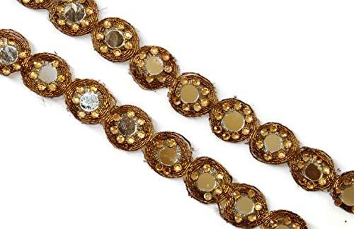 Golden Spiegel Arbeit Trim Stoff breiter Schal Spitze Spiegel Trim indischen Spitze leicht sewing-width 2cm-price für 1yard-idl209 -