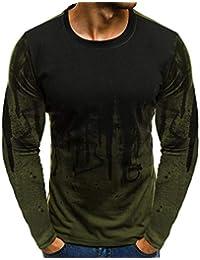 209ac1d8a3476 Camisetas Hombre Manga Larga Otoño Camisetas Estampadas Hombres ❤️AIMEE7  Camisetas De Manga Larga con Degradado