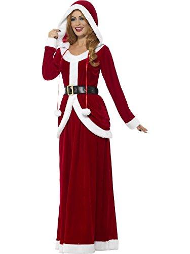 Smiffys Damen Deluxe Miss Santa Claus Kostüm, Kleid mit Kapuze und Gürtel, Größe: 36-38, 48203 (Kostüm Claus Miss)