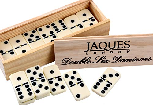 Jaques of London Double Six Dominoes With Spinners - Family Set for Adults and Children - Presented in a Slide Lid Pine Box