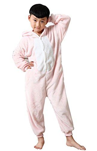 hlafanzug Warmer Flanell Einteiler Pyjamas Unisex Cosplay Kostüme Tierkostüme Schwein Dicke Nachtwäsche Kostüm Für Halloween Animal Sleepwear Geeignet Für 10 Bis 11 Jahre - Rosa (Elf Schlafanzüge Für Erwachsene)