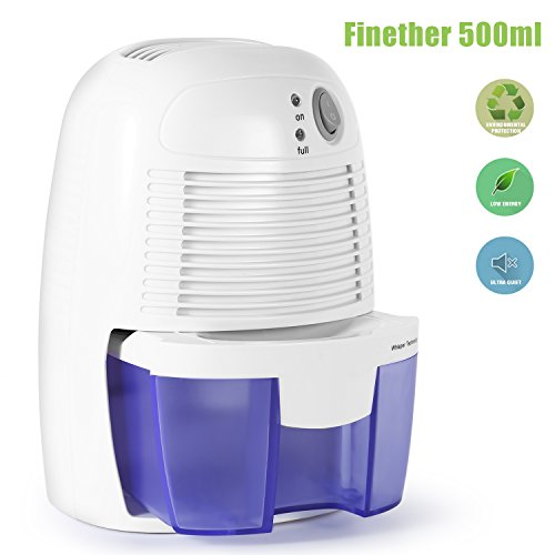 Portable Dehumidifier, 500ML Compact Mini Air Dehumidifier for Damp, Small Moisture Absorber for home, Mould, Moisture in Home, Kitchen, Bedroom, Caravan, Office, Garage, Bathroom, Basement