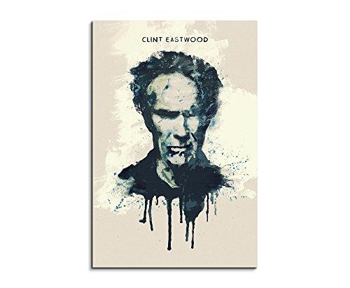 Paul Sinus Art Clint Eastwood 90 x 60cm Keilrahmenbild Kunstbild Aquarell Art Wandbild auf Leinwand fertig gerahmt Original Unikat (Clint Eastwood Leinwand)