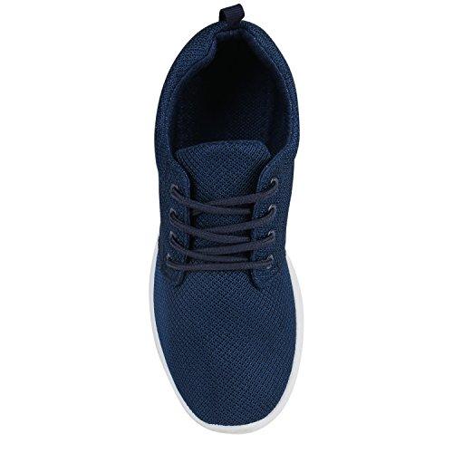 Damen Sportschuhe | Übergrößen | Trendfarben Runners | Sneakers Laufschuhe | Fitness Prints Dunkelblau Blau Weiss