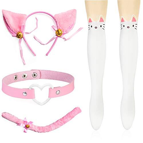 Anime Neko Kostüm - Haichen Cat Cosplay Kostüm Anime Gothic Lolita Zubehör Set - Kätzchen Schwanz Ohren Herz Goth Halsreif Kragen Niedliche Socken (B)