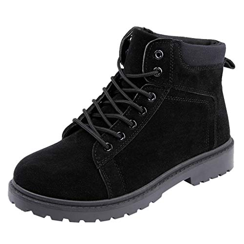Yourgod Autumn Winter Mens Work Business Round Toe Lace up Suede Non Slip Boots Military Motorbike Pure Color Warm Running Work Shoes