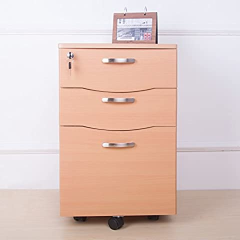 Life Carver Bedside Three Chest of Drawers Mobile Rolling Filing Pedestal Lockable Storage File Cabinet Home Studies Office Furniture Desktop Extension (Beech)