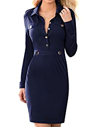 Miusol® Damen Langärme Abendkleid Business Etuikleid Revers Knöpfe Knielang Winter Party Kleid Dunkelblau Gr.36-46