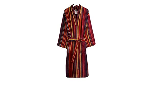 Bown of London Mens Regent Stripe Dressing Gown Orange//Purple//Red