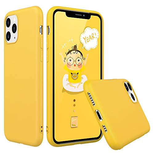 Peakally Funda iPhone 11 Pro, Carcasa Amarillo TPU Suave Funda para iPhone...