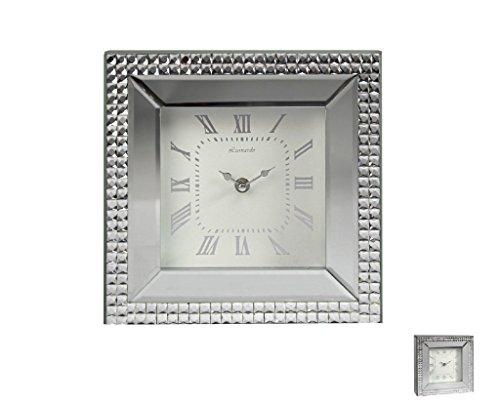 Square Mirror Mosaic Mantel Clock
