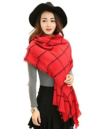 Minetom Donne Uomini Autunno Inverno Caldo Plaid stola dello scialle di della sciarpa Lungo Sciarpe ( Rosso )