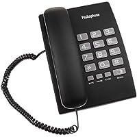 perfk Teléfono Fijo con Cable para Escritorio Empresa Colgar en Pared, Negro