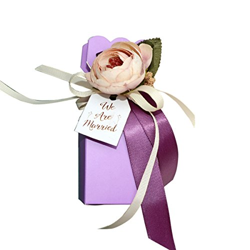 Autulet Boxen elegant edlen lila Hochzeit Partei Geschenke personifizierte Bevorzugungen Braut-Box Verpackung für 10pieces