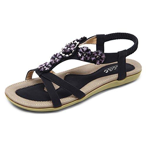 Zicac Damen Sandalen Freizeit Blumen-Stil Sandalen Sommer Schuhe (Asien 40 - EU 39, Schwarz)