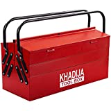 KHADIJA Metal 5 Compartment Double Handle 20inch Big Storage Professional Tool Box (RED)