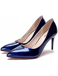 Jqdyl Tacones Zapatos individuales ligeramente heel acentuados negros Mujer Rojo, azul, 37