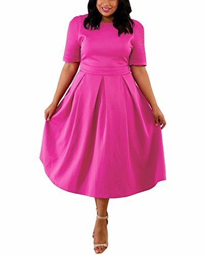 ABYOXI Damen Vintage Große Größen 50er Retro Rockabilly Kleid Knielang Abendkleider Rose DE 44-46
