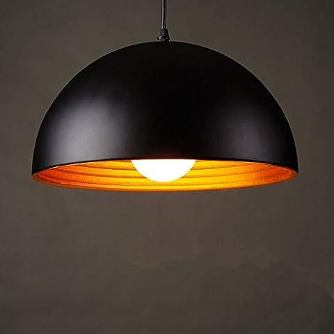 PinWei_ Lampadari d'epoca&Lampadario Sala da pranzo&Bar a sospensione Semi-cerchio in alluminio lampada LED luce (40 cm) , black