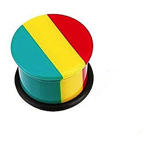 00GA (10 mm) Jamaican Rasta Streifen Einzel Ausgestelltes Top Hat All Flesh Tunnel-Ohr-Acryl-Sattel-Plug Ohrring