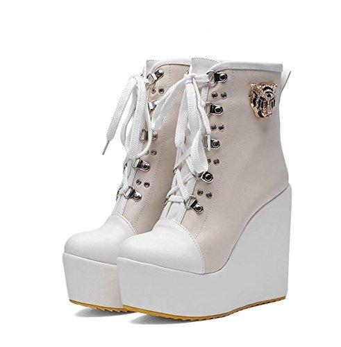 LvYuan Damen Stiefeletten / Lackleder / Büro & Karriere / High Wedge Ferse / Comfort / Lace-up Oxfords / Martin Stiefel / Outdoor Casual Flatform Schuhe Beige